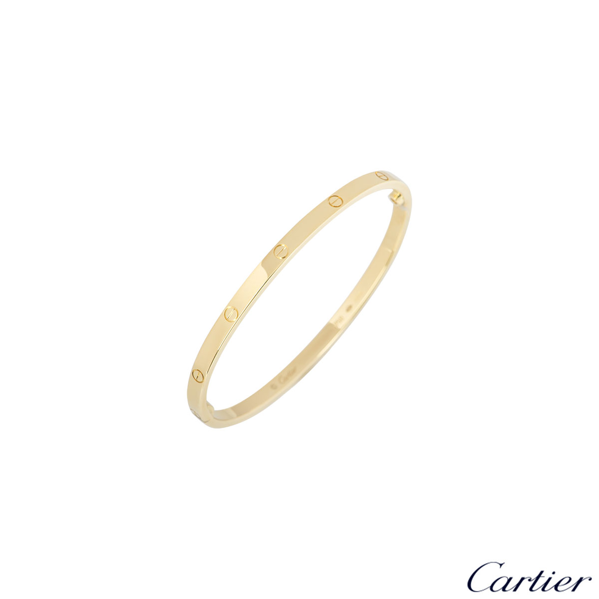 Cartier Yellow Gold Plain Love Bracelet SM Size 17 B6047517